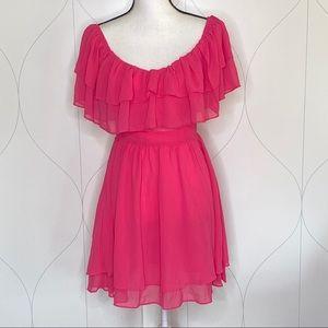 NWT CBR off-shoulder ruffle dress hot pink M